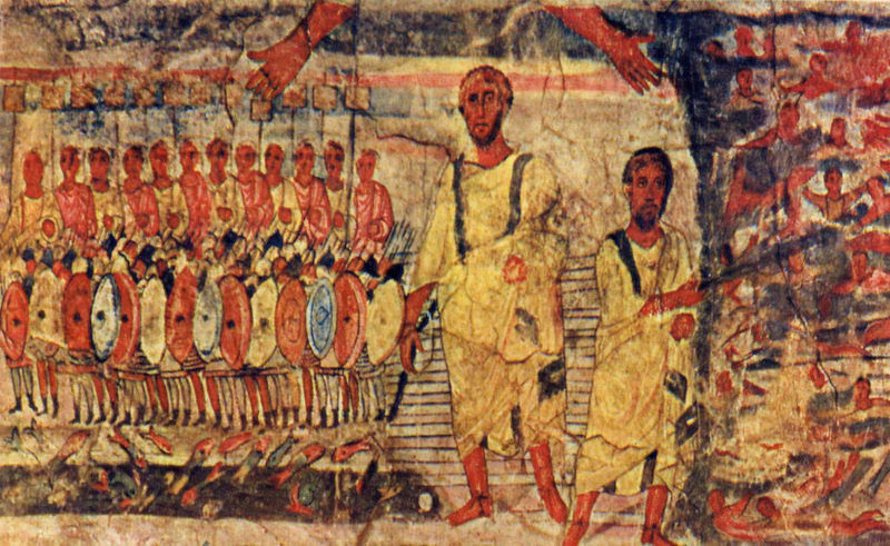 File:Dura Europos fresco Jews cross Red Sea.jpg