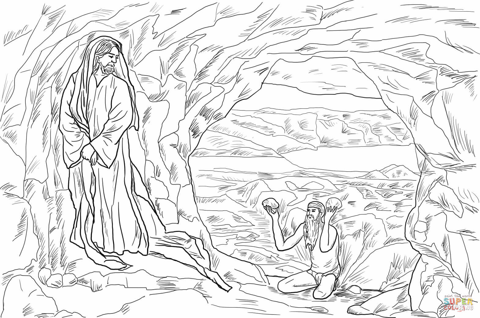 jesus tempted in the wildernes by james tissot coloring page