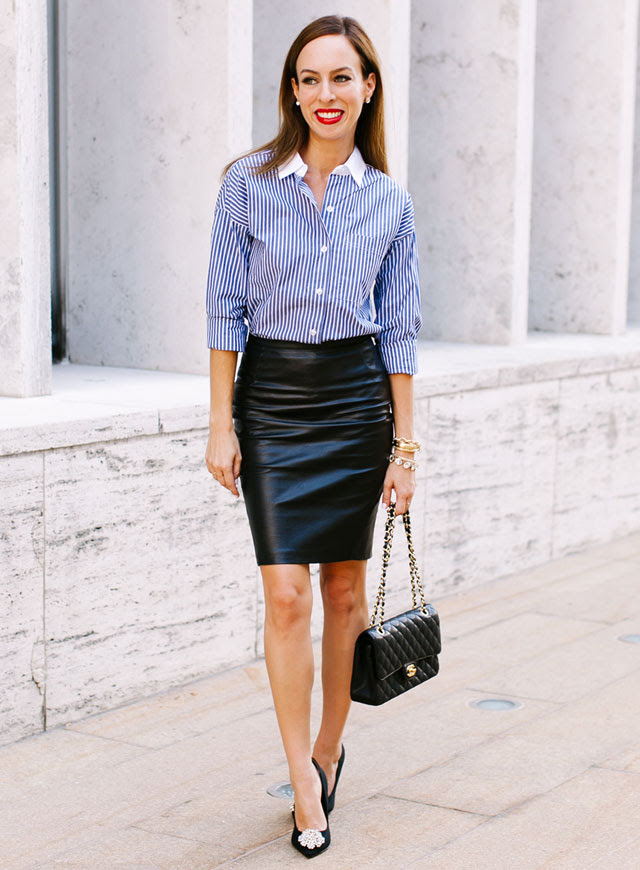 Sydne-Style-Old-Navy-Joe-Zee-fashion-week-party-how-to-wear-a-boyfriend-shirt-stripes-leather-skirt-red-lips-smashbox