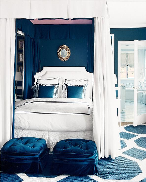 painted pink ceiling Royal blue room