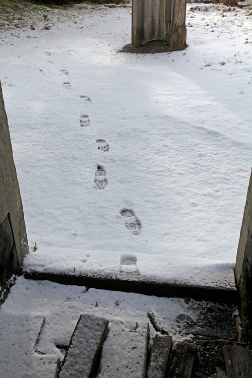 footprints in the snow going into Naay I'waans, Chief Son-i-Hat Whale House, Kasaan, Alaska