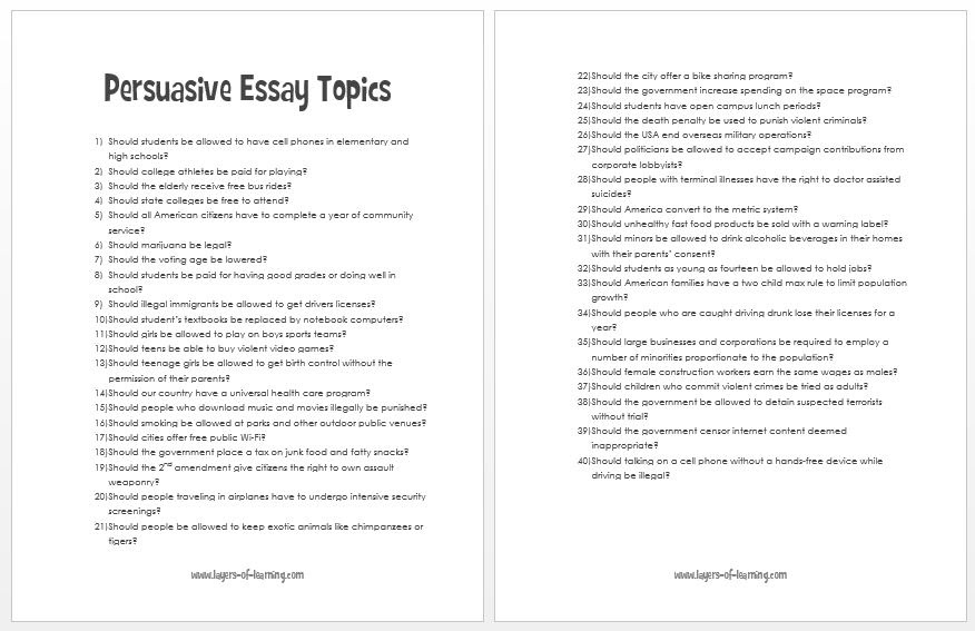 Things to write about for an essay