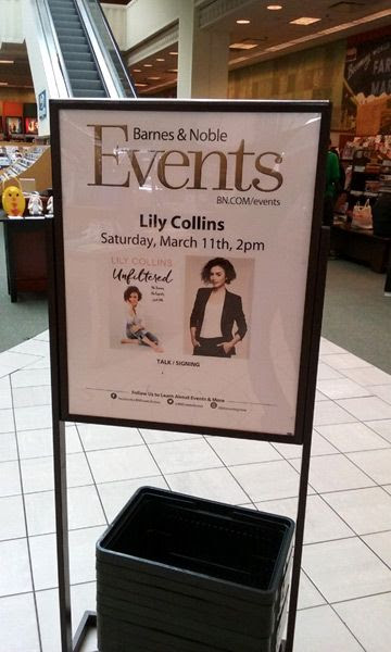 At The Grove's Barnes & Noble bookstore in Los Angeles to attend a discussion and signing by actress Lily Collins...on March 11, 2017.