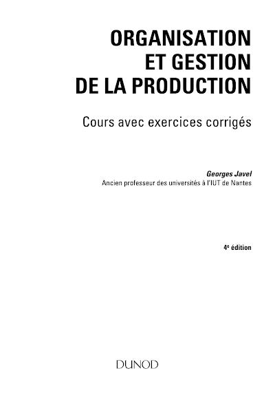 Télécharger le Livre : Organisation et Gestion de la production.pdf