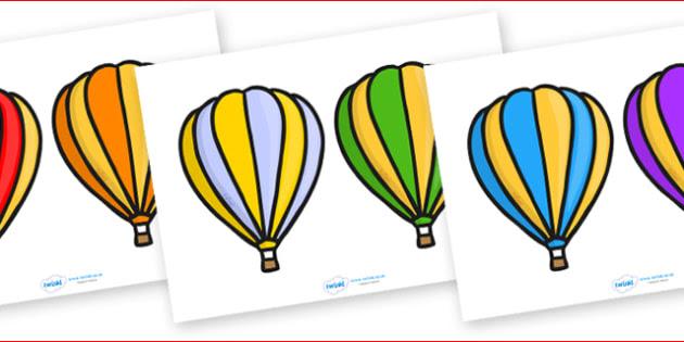 Editable Hot Air Balloons 2 per A4 Stripes - Hot air balloon
