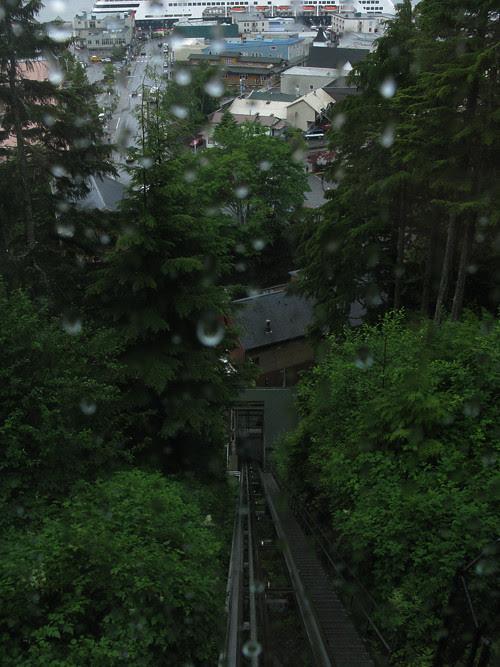 rainy Cape Fox Lodge tram, Ketchikan, Alaska