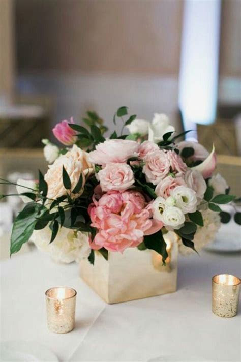 Blush Pink and White Low and Lush Wedding Centerpiece in