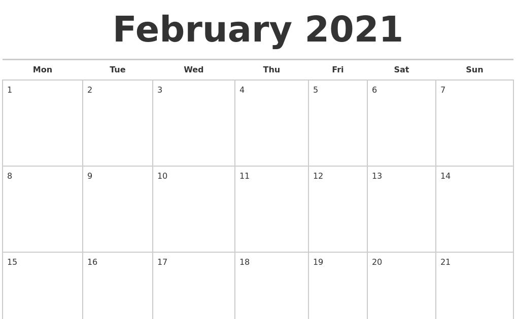 February 2021 Calendar Printable Monday Start / Printable ...