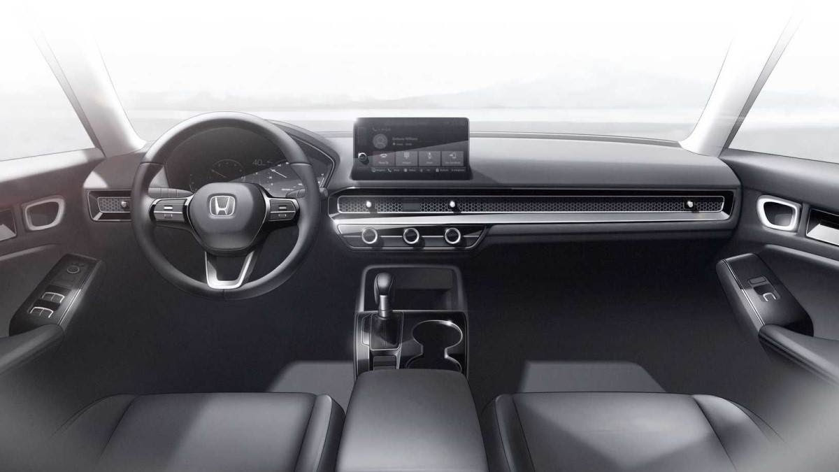 A floating 9.0-inch touchscreen takes centrestage on the dash of the new Honda Civic. Image: Honda
