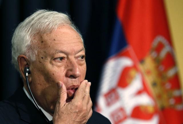 Jose Manuel Garcia-Margallo seen in Belgrade on Wednesday (Tanjug)