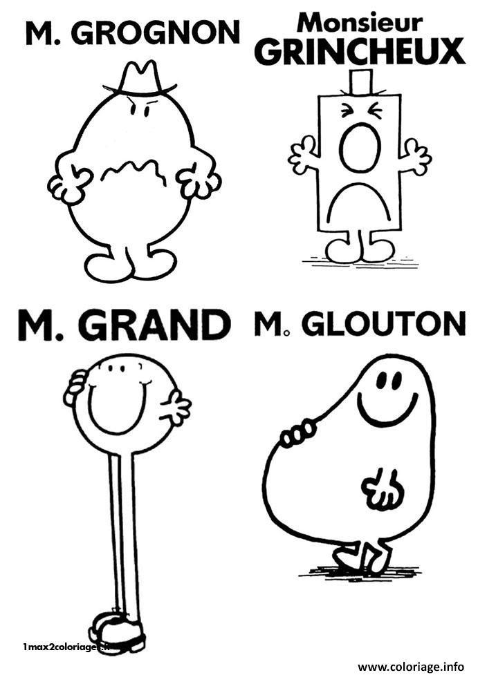 Coloriage Monsieur Madame Grognon Grincheux Grand Glouton