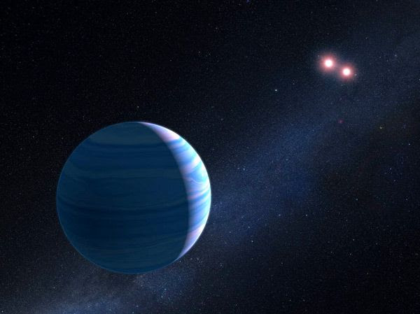 An artist's concept of a Saturn-sized exoplanet orbiting its two suns in the OGLE-2007-BLG-349 system.