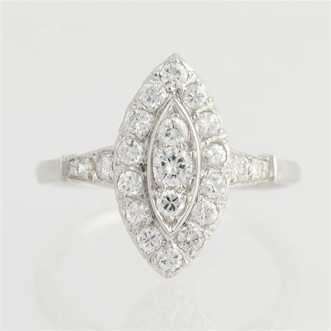 Art Deco Diamond Marquise Halo Ring   900 Platinum 1.03ctw