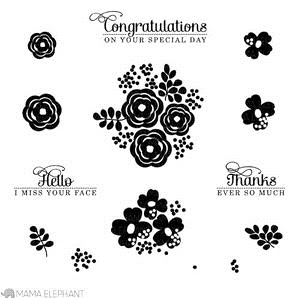 Mama Elephant Clear Stamp WATER BLOOMS Set