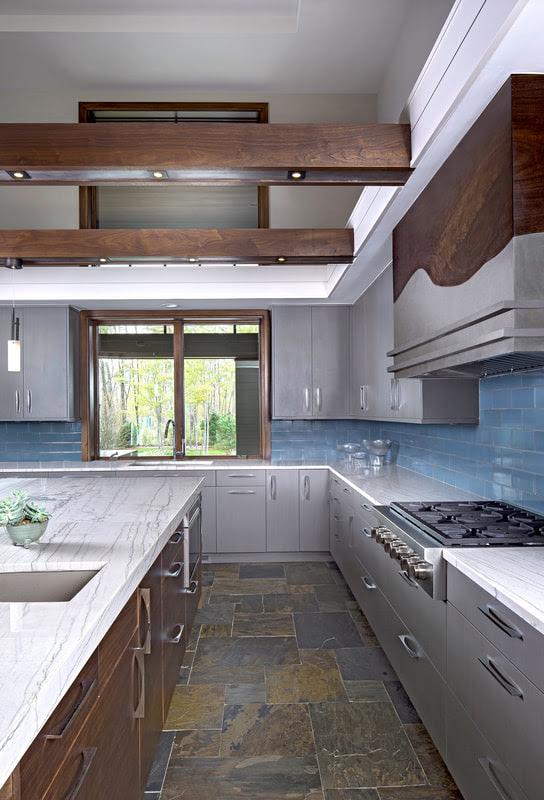 Mid Century Modern Kitchen Luxe Homes Design Build Birmingham Michigan
