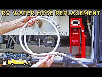 RV Geeks videos: Retractable Water Hose Reel, Awning & Slide Topper Replacement Fabric, Step Cover Rugs, & A Milestone Thank You