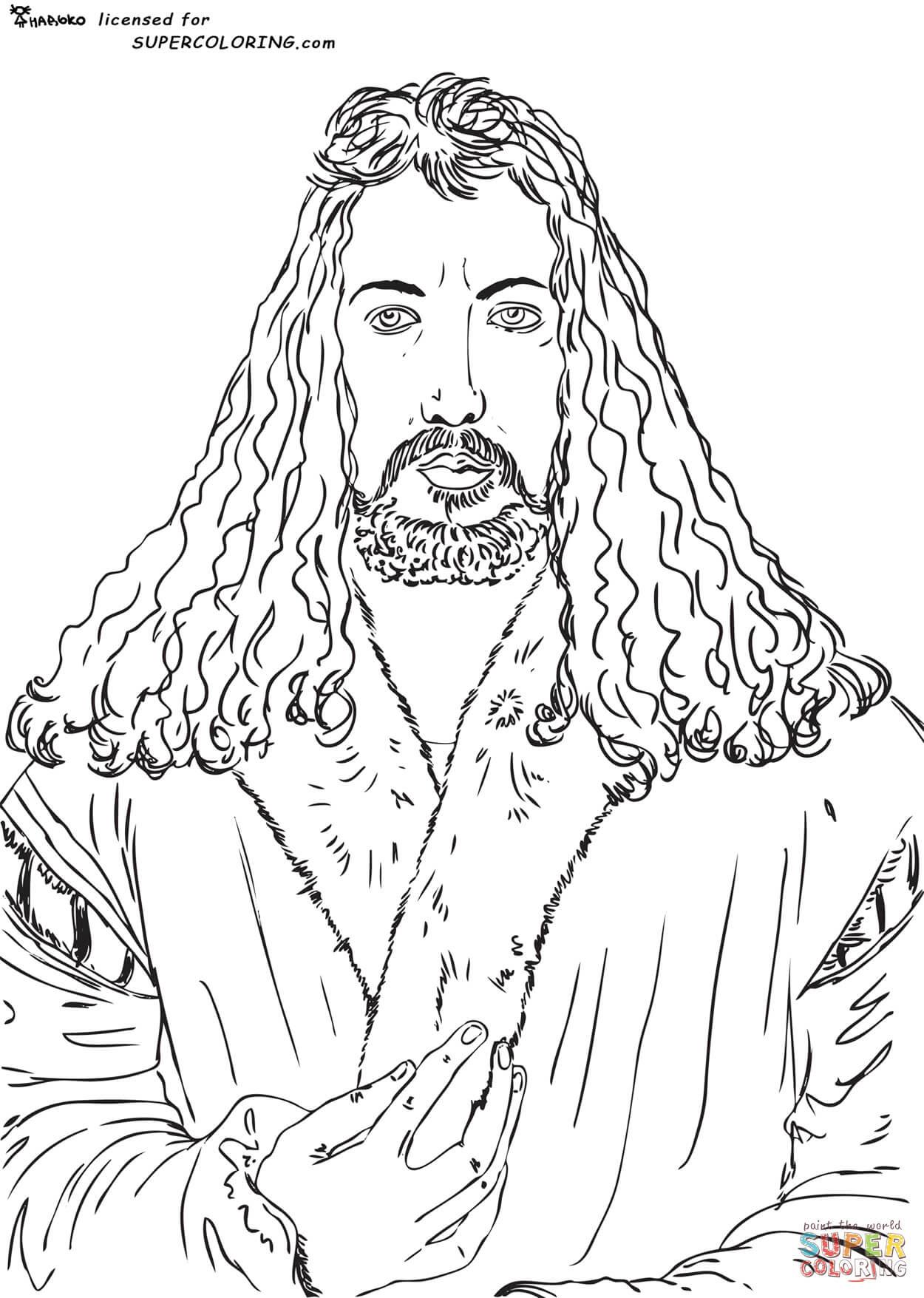 Download Ausmalbild: Selbstportrait von Albrecht Dürer | Ausmalbilder kostenlos zum ausdrucken