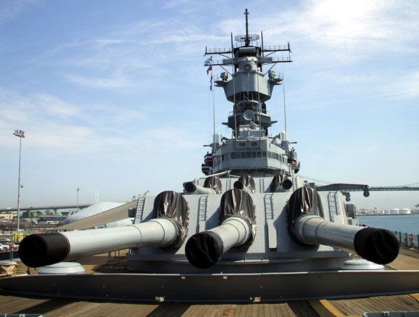 Three of the nine 16-inch guns aboard the USS Iowa...looking lethal as heck.