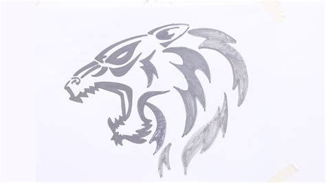 draw tiger head tribal tattoo youtube