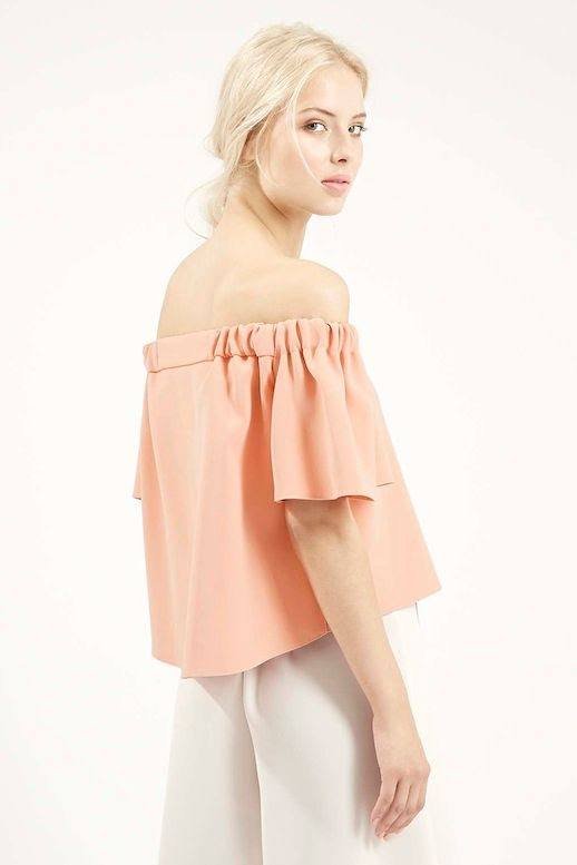 12 Le Fashion 31 Stylish Ways To Wear An Off The Shoulder Look Peach Pink Topshop Structured Bardot Top