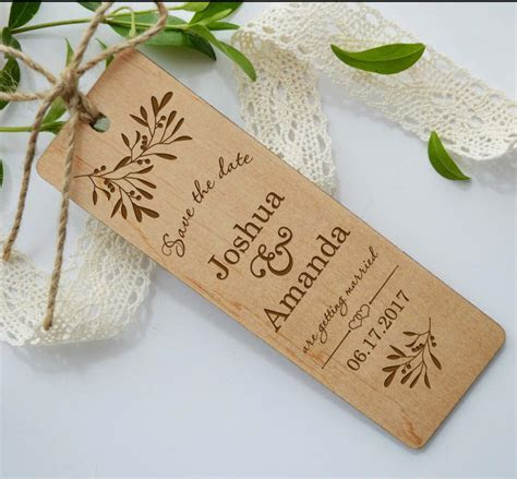 Wooden save the date bookmark Wood wedding invitation