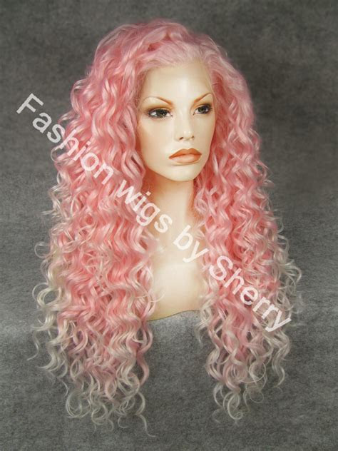 extra long  pink tip white curly heat friendly synthetic hair lace front party wig