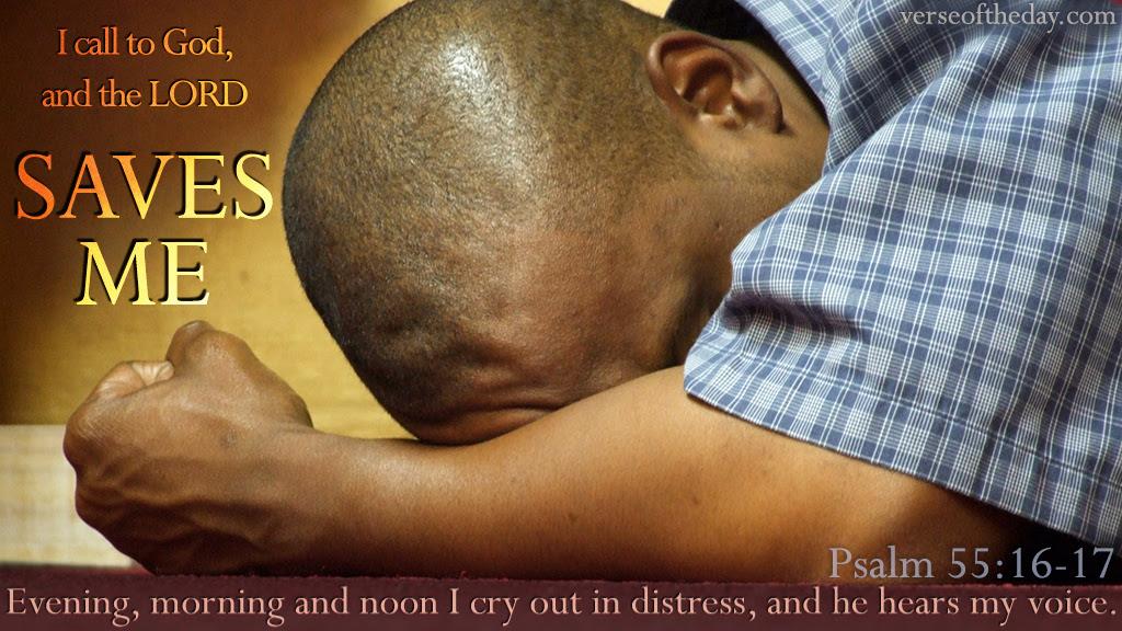 Inspirational illustration of Psalm 55:16-17