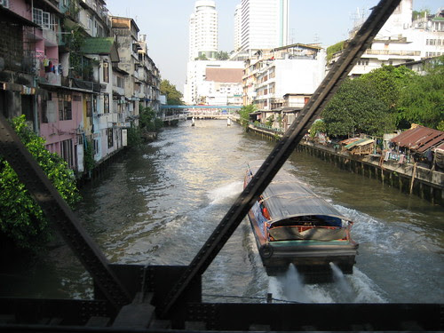 Rail bridge across a Bangkok canal 2