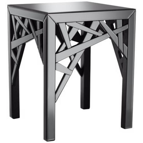 Ayden Grey Smoked Mirror End Table - #Y9300 | LampsPlus.