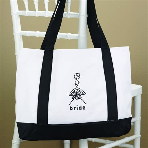 Black and White Bride Tote Bag   Bridal Party Gifts