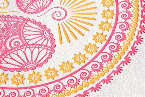 Indian Pattern Letterpress Wedding Invitations