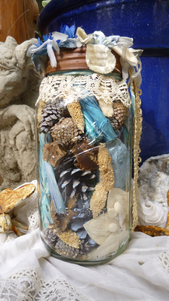 Blue Blossom Ball Mason Jar, Beach Decor, Romantic Country, OOAK, Cottage Home, Ocean, Vintage, Victorian