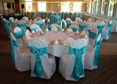 Tiffany Blue Sashes on Ivory Chair Covers   Wedding Linens