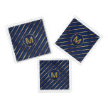 Monogram Dark Blue and Gold Stripes Square Serving Trays