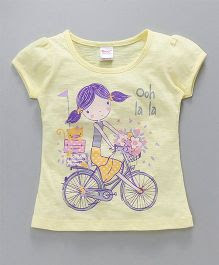 Tango Half Sleeves Tee Girl & Bicycle Print - Yellow