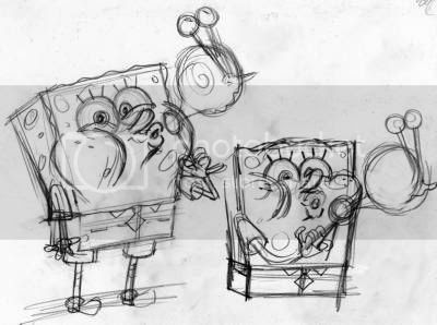 SpongeBob is blowing bubbles in the shape of Gary his pet snail - Pencil drawing rough for Nickelodeon SpongeBob SquarePants magazine