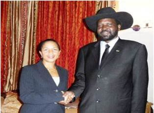 South Sudan President Salva Kiir with Susan Rice, the United States Ambassador to the United Nations. The state of Sudan was partitioned after the South held a referendum on its future in January 2011. by Pan-African News Wire File Photos