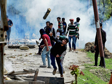 File image of stone pelters. PTI