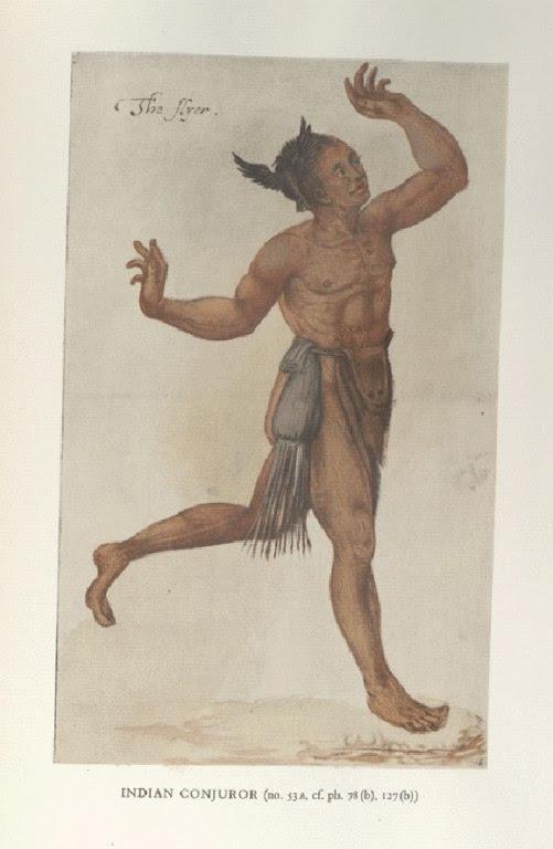 (O Feiticeiro, gravura de John White em 1585 na cidade indígena de Pomeiooc, atual Carolina do Norte)