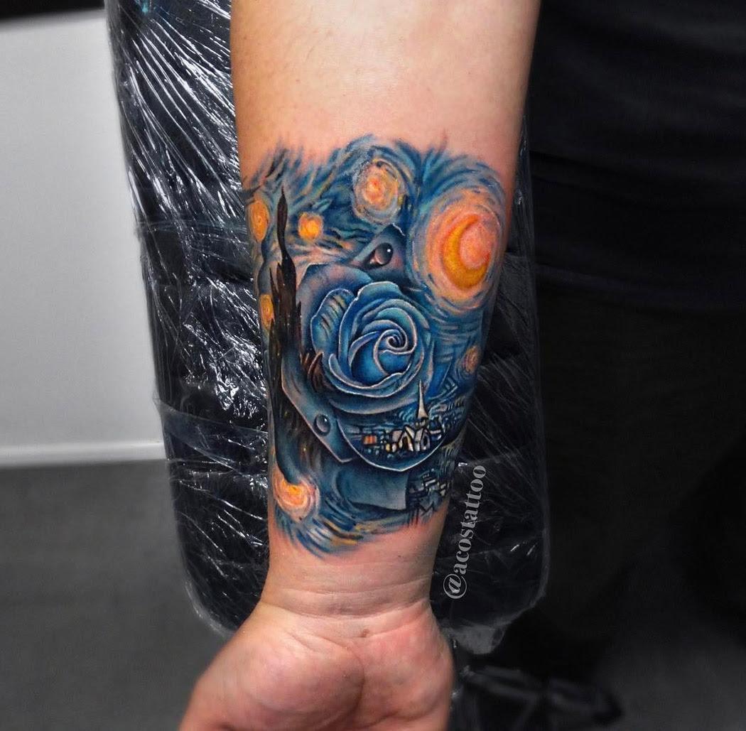 Starry Night Tattoo With Rose Best Tattoo Design Ideas