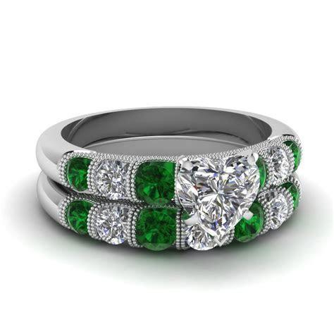 Buy Emerald Wedding Ring Sets Online   Fascinating Diamonds