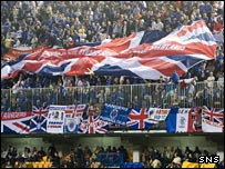 Rangers fans fly their flags in Villarreal