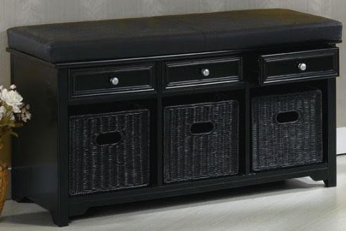 Oxford 42 Quot W Storage Bench With Three Baskets And Leather Cushion 42 Quot W W Blk Lthr Black Entry