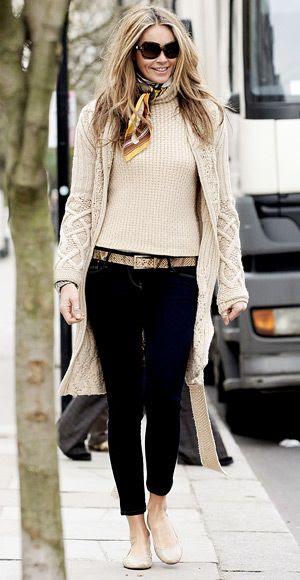 sweater coat, scarf