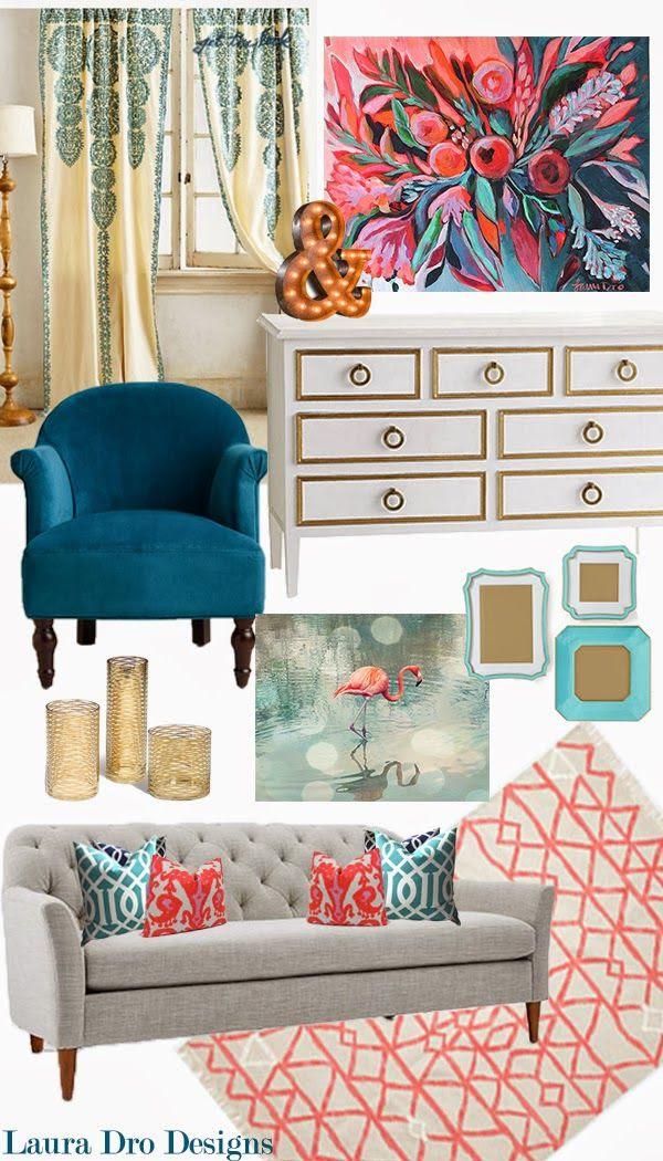 Living Room Design Indigo Aqua Coral Gold Laura Dro