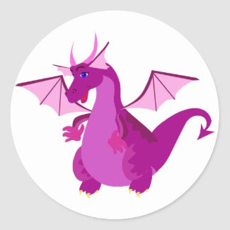 Friendly Purple and Pink Dragon Classic Round Sticker