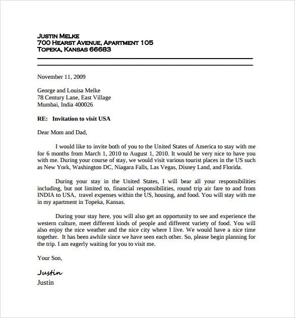 Sample Invitation Letter to Visitor Visa