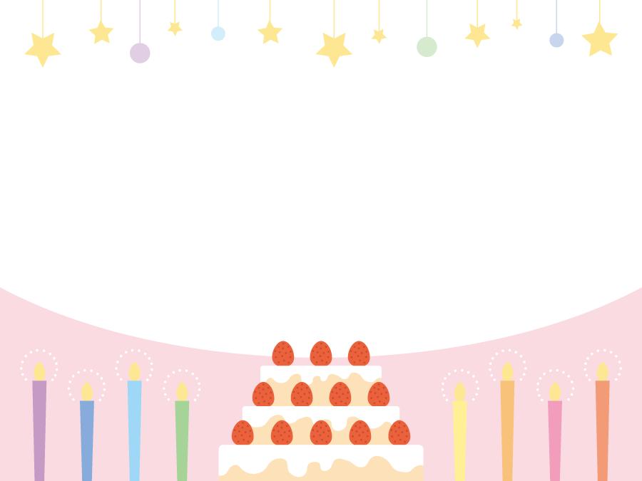 フリーイラスト バースデーケーキとろうそくの誕生日フレームでアハ体験