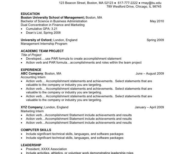 sample resume format for undergraduates