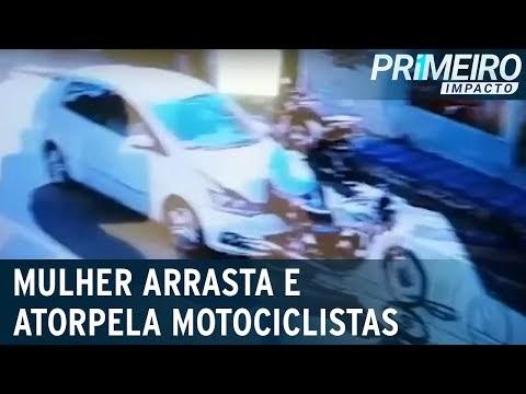 Intolerância no trânsito: motorista arrasta e atropela casal em moto; vídeo